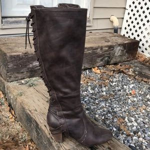 Report tall brown lace back heeled boot